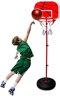 Kids Basketball Hoop Stand Set Adjustable Height Portable Stand Basketball Set Sport Game Play Toys Set with Ball Ball, Net and Ball Pump Indoor and Outdoor Fun Toys for 3+ Years Old