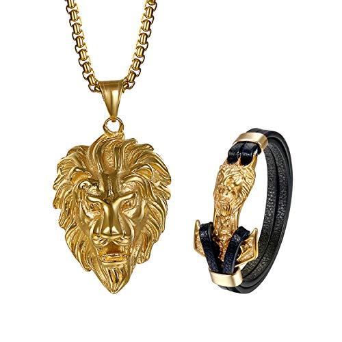 Aroncent 2PCS Herren Löwe Schmuck-Set (Halskette + Armband), Edelstahl Löwenkopf Biker Anhänger mit 55cm Kette und Thors Hammer Leder Armband, Gold Schwarz