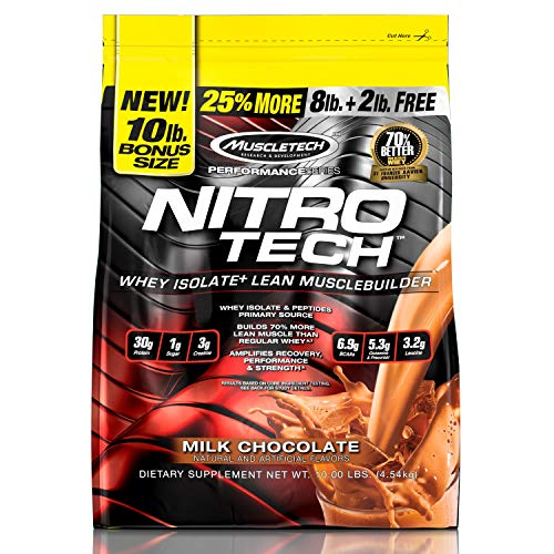 Whey Protein Powder   MuscleTech Nitro-Tech Whey Protein Isolate + Peptides   Lean Protein Powder with Creatine   Sports Nutrition Protein + Muscle Builder for Men & Women   Chocolate, 10 lbs