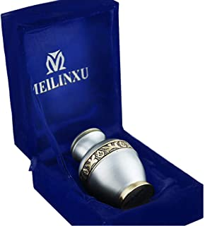 M MEILINXU Keepsake Urns for Human Ashes Small, Mini Funeral Cremation Urns Adult Boxes - Fits a Small Amount of Cremated Remains - Burial at Home or Office Decor (Elsene Silver Grey, Brass Engraved