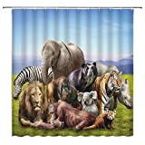lovedomi Elefant Duschvorhang Tiger Löwe Zebra Affe Nashorn Panda Orang-Utan Tier Blau Hellbraun Badezimmer Gardinen Dekor Polyester Stoff schnell trocknend 183 x 183 cm inklusive Haken