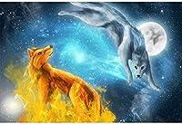 大人のジグソーパズル2000個大人のジグソーパズル2000個子供大きなジグソーパズルおもちゃギフト星空2匹のオオカミ動物