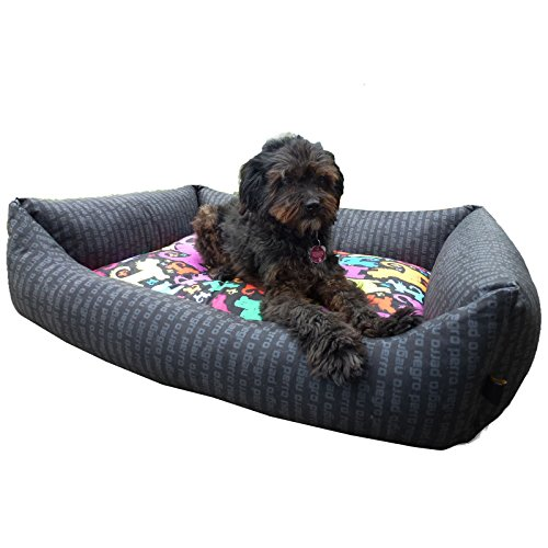 perro negro Viscoschaum-Hundebett -Bunter Hund- Größe M in klassischer Box-Bett-Form