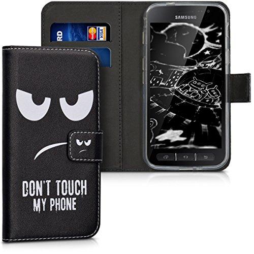 kwmobile Wallet Hülle kompatibel mit Samsung Galaxy Xcover 4 / 4S - Hülle Kunstleder mit Kartenfächern Stand Don't Touch My Phone Weiß Schwarz