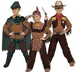 Ciao 10050Déguisement de cowboy pour petit garçon, 3-en-1 :indien, cowboy, Robin des bois, marron/vert. 6-8 anni Marrone/Verde