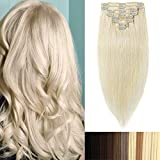 100% Remy-Echthaar Clip-In-Extensions für komplette Haarverlängerung 120g-60cm (#60 Platinum Blonde)