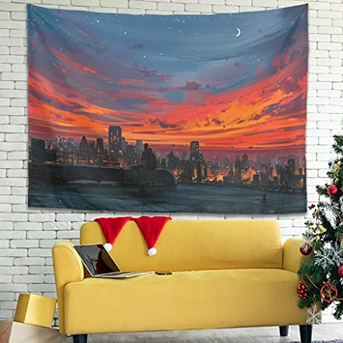 Ballbollbll Tapiz de pared para abrazar y ver el atardecer, para colgar en la pared, decoración de dormitorio, cortina de pared, blanco, 101,6 x 149,8 cm