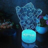 タッチコントロール、Led 3DナイトライトBuddhism3パターン常夜灯子供の寝室の装飾デスクランプ16色