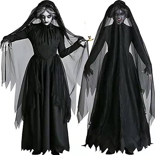 Almondle Vestido de Bruja gótico para Mujer, Disfraz Negro de Vampiro de...