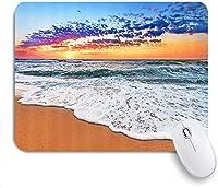 印刷されたマウスパドトロピカルビーチ夏の海ビーチ波雲日の出ワンダーラスト、ゲームプレーヤーオフィス用装飾マウスパッド、デスクの装飾、9.5x7.9インチ