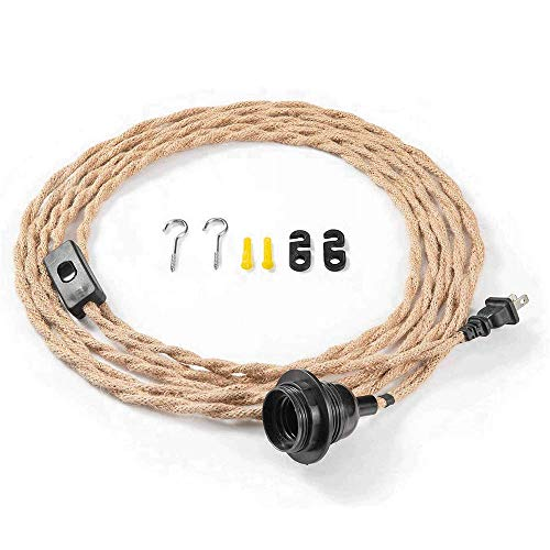 Pendant Light Socket Hanging Light Cord Kit with Switch, Vintage 15FT Twisted Hemp Rope Plug Plug-in lamp Extension, Lantern Cable for Retro DIY Project - Bulb Not Included