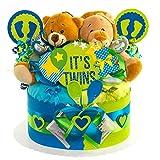 MomsStory - Windeltorte Zwillinge | Teddy-Bär & Löwe | Baby-Geschenk zur Geburt Taufe Babyshower | 1 Stöckig (Blau-Grün) mit Plüschtier Schnuller & mehr