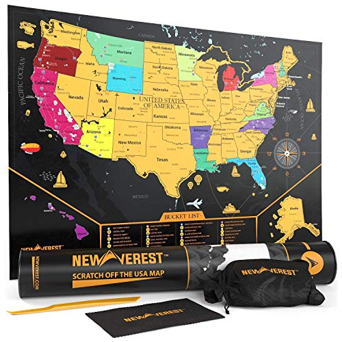 Newverest Scratch Off United States Map - Detailed USA Scratch Map, Travel Art Poster, Fits 17