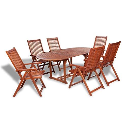 Lingjiushopping extérieur Ensemble de salle à manger Table extensible Bois 7 pièces avec matériau : bois d'acacia (Huile Fini) Couleur : bois naturel