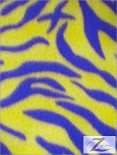 Yellow/Purple Zebra Print Polar Fleece Fabric Sold by The Yard Laker Colors