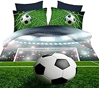 ENJOHOS Special 3D Soccer Football Bedding 4 PCS Cool Sport Comforter Cover Set with 1 Soccer Duvet Cover 1 Soccer Sheet 2 Soccer Pillow Shams,Queen Size