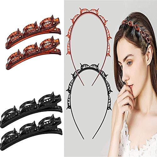 2PCSMulti-Layer Hollow Woven Headband, Double Bangs Hairstyle Hairpin, Double Layer Twist Trenza Diadema Herramientas De Peinado Para Mujeres Y Niñas (rojo y negro)