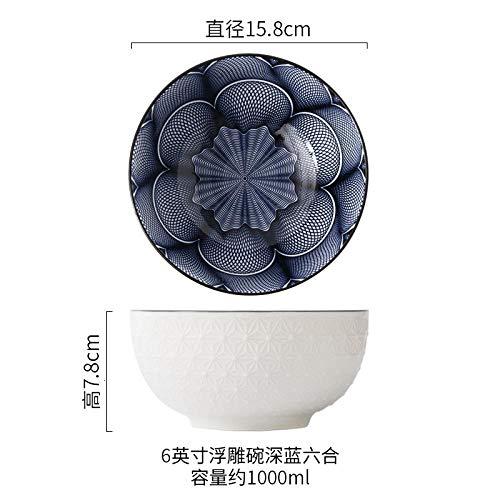 Teller Nordic Style 6-Zoll-Unterglasur Farbe Keramik High-Foot Anti-Verbrühung Relief Geschirr Haushalt Große Schüssel Nudelschale Suppenschüssel Tyle