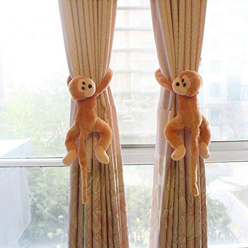 2 alzapaños para Cortinas para habitación Infantil con diseño de Mono, Peluche, Hebillas de Cortina, decoración de Ventanas, Accesorios de Cortina, alzapaños de Cuerda
