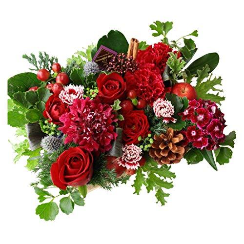 フラワー ギフト 誕生日 アレンジメント レッド 赤系 誕生日お祝いに 季節のお花を使った生花 フラワーケーキアレンジメント Happy birthday ピック付