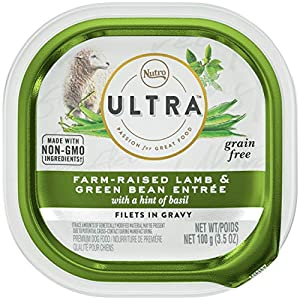 NUTRO ULTRA Grain Free Adult Soft Wet Dog Food Filets in Gravy Farm-Raised Lamb & Green Bean Entrée With a Hint of Basil, (24) 3.5 oz. Trays