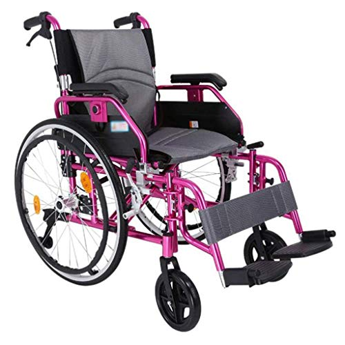 N/Z Equipo Diario Silla de Ruedas Manual autopropulsada con Bolsa de Almacenamiento Ajuste antivuelco de Doble Freno para Scooter de Empuje para discapacitados/Ancianos
