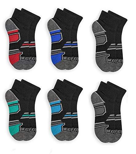 Fruit of the Loom Boys' 6-Pair Half Cushion Ankle Socks (Medium (Shoe Size: 9-2.5), Black 1)