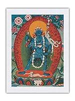 ヤミニ、ヴァジュラヴァラヒの心の鎧の女神 - 仏教絵画 - Tibet, 19th Century - シルク生地プリント 61 x 81cm