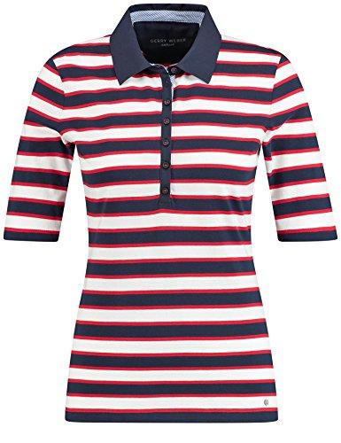 Gerry Weber Casual/Edition Polo 3/4 Arm Polo-Shirt aus Reiner Baumwolle Blau/Rot/Orange Ringel 48