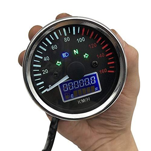 CAIZHIXIANG Odómetro Medidor de Cristal Instrumento Liquaid tacómetro Velocímetro de la Motocicleta 12V LED Digital con indicador Indicador de Gasolina