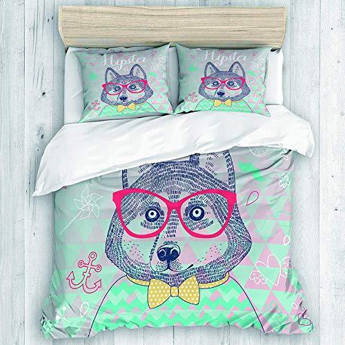 ATZTD Juego de ropa de cama, funda de edredón, diseño de perro hipster Husky en gafas, varios patrones personalizados, juego de almohadas de 3 piezas, paquete de 2