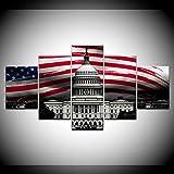 VGFGI HD Print Poster 5 Panels Amerikanische Flagge Weiße Haus Wandkunst Leinwand Malerei Schlafzimmer Wohnzimmer Home Decoration Artwork Modular Picture