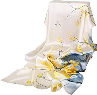 Stoles Women's Silk 100% Silkworm Silk Long Scarf Spring and Summer Thin Section Wild Sunscreen Shawl Shawls (Color : Yellow)