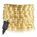 WYZworks LED Rope Lights 300' feet Warm White 3/8' | ETL Certified IP65 Water Resistant Flexible Accent Holiday Christmas Venue Decoration Indoor/Outdoor Lighting
