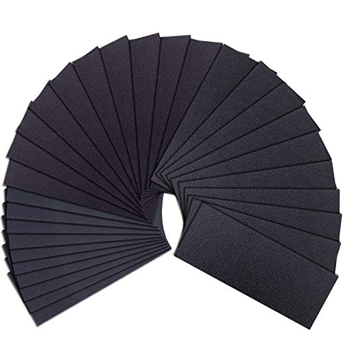 AUSTOR 30 Pieces Sandpaper Sheets Assortment Wet and Dry Sandpaper 80 120 220 Grit Assorted Sanding Paper 9 x 3.6 Inches Abrasive Paper for Automotive Sanding Wood Furniture Finishing