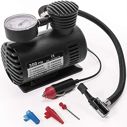 Stark CHIA477 Portable 12 Volt Mini Air Compressor Pump with Gauge Car 300 PSI Tire Inflator