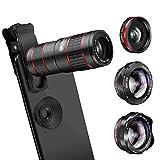 Kameraobjektiv Handyobjektiv 5-in-1-Objektiv mit 12facher Doppelverstellung/Weitwinkel, Teleskop-Fisheye-Spiegelreflexkamera-Zubehör MDYHJDHYQ