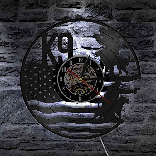 ROMK Reloj de decoración para el hogar K9 policía y militar perro con bandera americana arte de pared Decoraitve corte luz nocturna vinilo