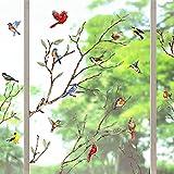 Yovkky Tree Branches Birds Window Clings 9 Sheets, Cardinal Wall Glass Stickers Birdies Decals Summer Fall Autumn Hummingbird Decor, Seasonal Home Kitchen Office Fridge Decorations Kids Party Supplies