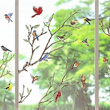 Yovkky Tree Branches Birds Window Clings 9 Sheets Cardinal Wall Glass Stickers Birdies Decals Summer Fall Autumn Hummingbird Decor Seasonal Home Kitchen Office Fridge Decorations Kids Party Supplies