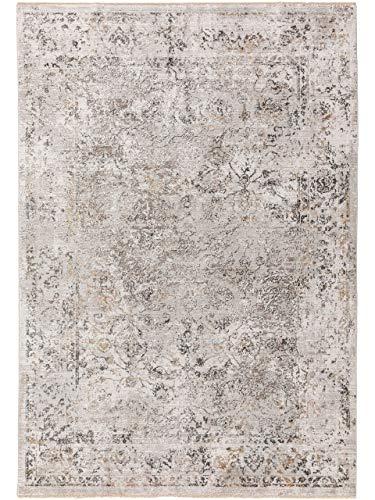 benuta CLASSIC Jared Tapis Moderne en Viscose Gris Clair 160 x 230 cm