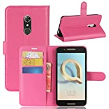 Tasche für Alcatel A7 Hülle, Ycloud PU Kunstleder Ledertasche Flip Cover Wallet Hülle Handyhülle mit Stand Function Credit Card Slots Bookstyle Purse Design Rose Red