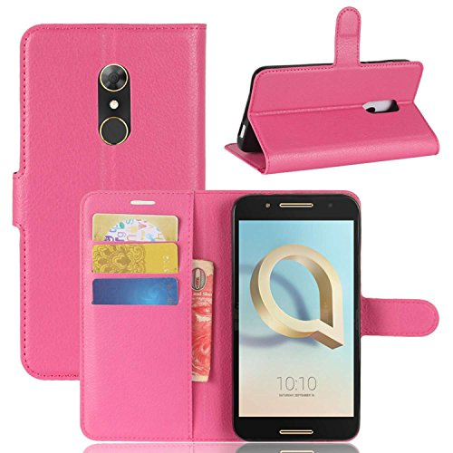 Ycloud Tasche für Alcatel A7 Hülle, PU Kunstleder Ledertasche Flip Cover Wallet Hülle Handyhülle mit Stand Function Credit Card Slots Bookstyle Purse Design Rose Red