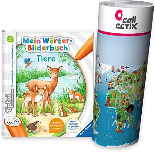 tiptoi Ravensburger - Libro de diccionarios (en alemán), diseño de animales y mapamundi para niños, a partir de 3 años