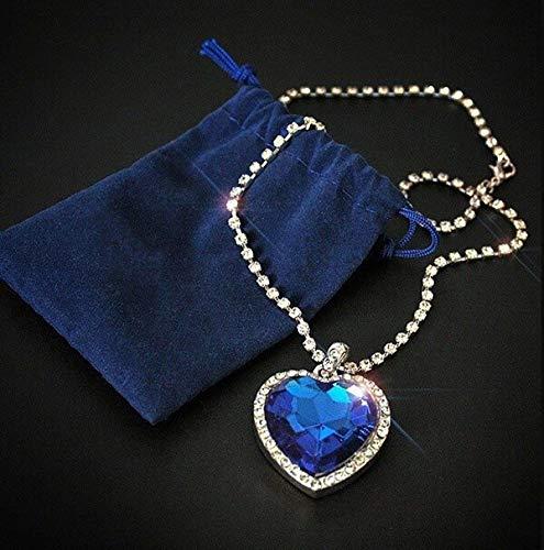 TREW Titanic hart van de oceaan blauw hart liefde voor altijd hanger ketting + fluwelen tas