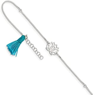 925 Sterling Silver Lotus Blue Fabric Tassel 1 Inch Adjustable Chain Plus Size Extender Anklet Ankle Beach Bracelet Fine Jewelry Gifts For Women For Her