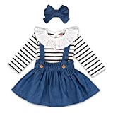 Toddler Baby Girl Clothes, Ruffled Striped Romper Bodysuit + Solid Suspender Overall Skirt Dress + Headband 3Pcs Cotton Outfits Set Blue