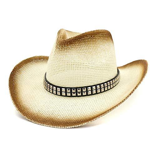 Jiangqiong, Cappello da Cowboy in Paglia con Vernice Spray, per attività all'Aperto, Spiaggia, con Rivetti Quadrati, Cintura, Cappello da Sole a Tesa Larga, Cannuccia, 1, 56-58 cm