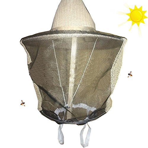 Novo Beekeeping Veil with Square Hat, Woven Straw Hat, Thickening and...