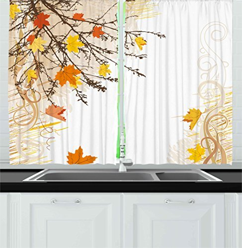 """Ambesonne Nature Kitchen Curtains, Autumn Maple Leaves Branches in Fall Earthen Tones Faded Woodland Art Print, Window Drapes 2 Panel Set for Kitchen Cafe Decor, 55"""" X 39"""", Tan Yellow"""